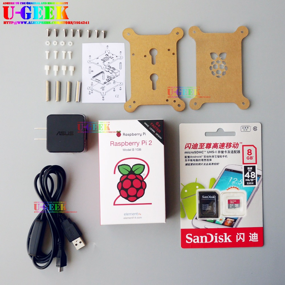 UGEEK Raspberry Pi 2 Model B Kit with Original Acrylic Case, Power Adapter, Power Cable, MicroSDHC-TF Card transparent acrylic case protective shell cover box with mini cooling fan for raspberry pi 2 3 model b and b b plus board