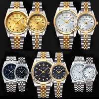 WLISTH Luxury Couple Watch Waterproof 30M Fashion Stainless Steel Lovers Watch Business Quartz Wrist Watches For