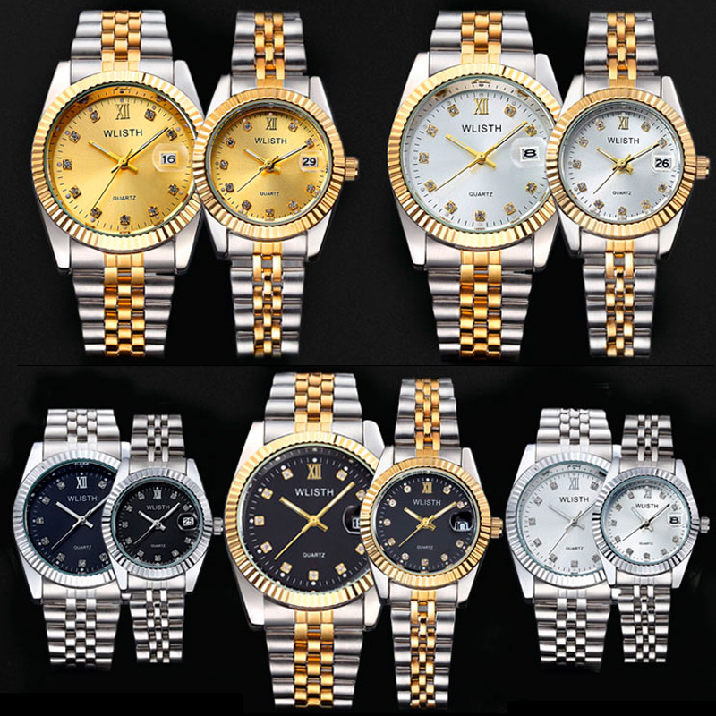 WLISTH Luxury Couple Watch Waterproof 30M Fashion Stainless Steel Lovers Watch Business Quartz Wrist Watches For Women & Man longbo men and women stainless steel watches luxury brand quartz wrist watches date business lover couple 30m waterproof watches