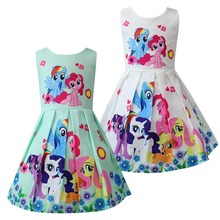 Платья для маленьких девочек детские летние модные платья с рисунком из мультфильма «Маленький Пони» Лидер продаж, вечерние платья принцес...