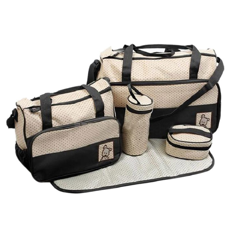 Set of 5pcs Diaper Bags Multifunctional Diaper Bags for Mom Bebe Walk or Travel- Black walk of shame бюстье