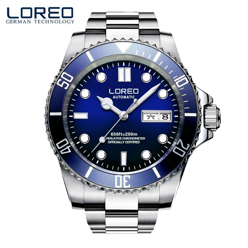 LOREO Luxury Fashion Business Full Stainless Steel 100m Waterproof Calendar Sapphire Glass Diamond Classics Men Sport Watch M02 fashion 40mm pranis silver dial full stainless steel sapphire glass automaic self wind mechanical men s business watch