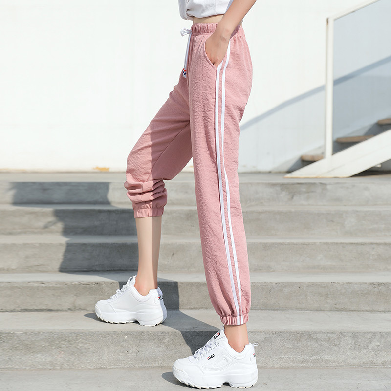 Yesello Women Loose   Pants   High Quality Summer Ice Silk Trousers Side White Striped Cool Streetwear Leisure Trousers   Pants     Capris