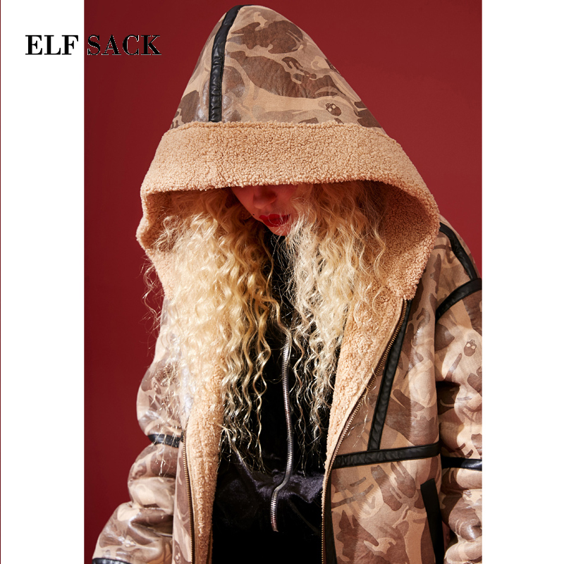 Pleine Mélanges Nouvelle Impression Mode Vestes Casual Manteaux Femelle Sack À Taille Laine Camel Femmes Elf Épaisse Large Streetwear Femme qOEHPwwxC