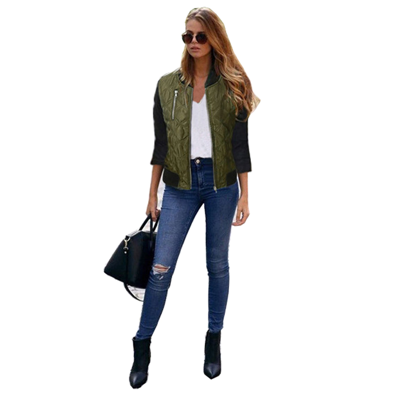 Autumn Winter Bomber   Jacket   Women 2018 Army Green Long Sleeve   Basic     Jackets   Black Zipper Slim Coat Female Casual Pilot Parka
