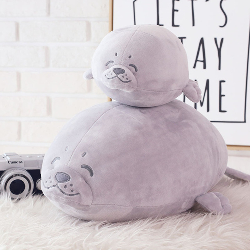 Big Fat Kawaii Sea Lions Seals Stuffed Animals Plush Doll Toy Gift Plush Toys for Children Girls Kids Bed Pillow Soft Toys Cute 68cm kawaii bull terrier dog plush kids toy emoji sleeping pillow toy cute soft baby toys stuffed dolls for children girl gifts