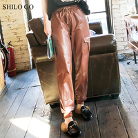SHILO GO Leather Pants Womens Spring England sheepskin genuine leather Pants tie stretch high waist causal loose brown pants
