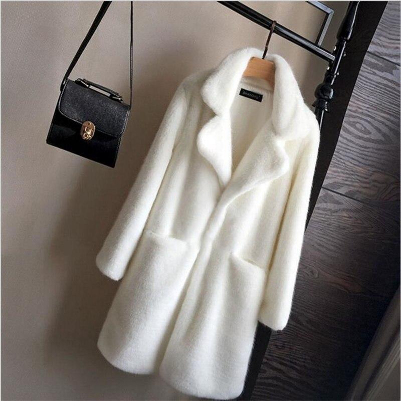 2018 de Pele De Vison Longo Casaco de Inverno Mulheres Outono Elegante Ocasional Solto Falso Casaco de Pele Das Mulheres Casacos Com Pele Artificial A4025