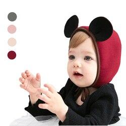 Новое поступление, детские шапки, милые хлопковые шапки с 3d ушками мыши для маленьких девочек, милая мультяшная детская мягкая шапочка с ушк...