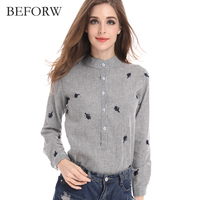 BEFORW Women Casual Stripes Blouse Plus Size Women Clothing Cardigan Blouses Wild Fashion Long Sleeves Stand