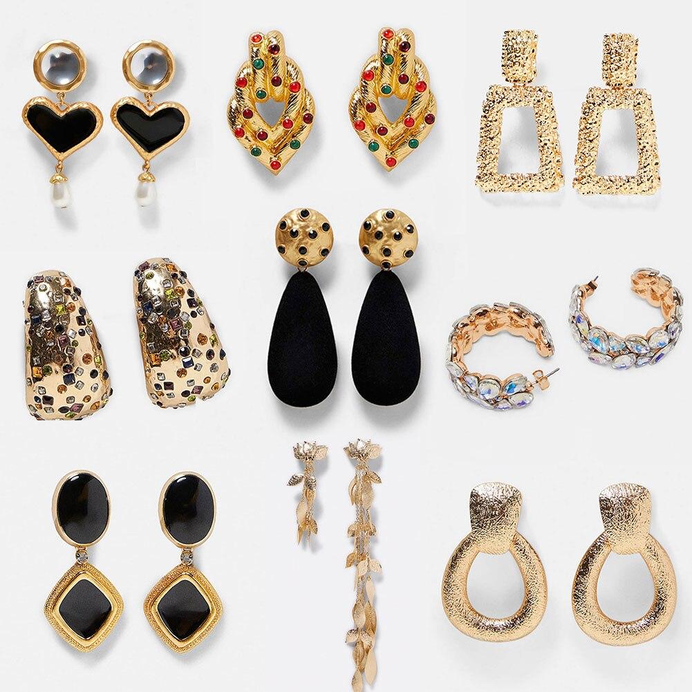 ZA Heart Crystal Drop Dangle Earrings For Women Boho Geometric Golden Wedding Party Punk Long Earring Vintage Jewelry