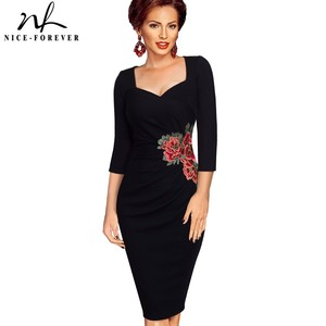 Image 1 - Nice forever Vintage Applique Flower embroidery Wear to Work vestidos Bodycon Office Sheath Women Business Dress btyB347