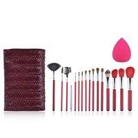 KAY GARLEY 15 sztuk sierść zwierzęca profesjonalny zestaw do makijażu pędzle kosmetyczne powder Blush brush makijaż brush case torba z makijażu puff