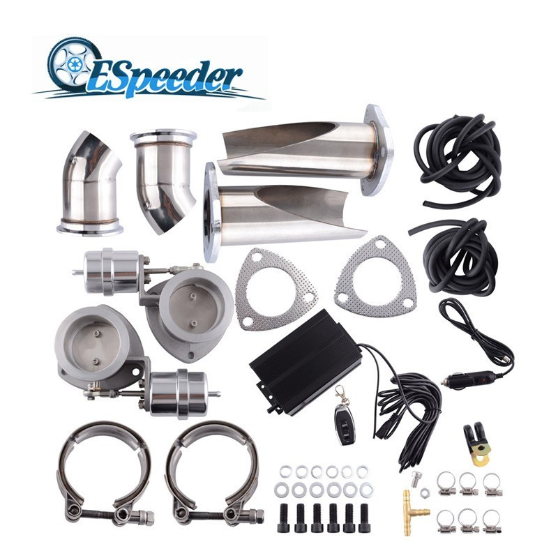 ESPEEDER 3'' Exhaust Cutout Catback Downpipe Vacuum Pump Valve Kit E-Cut Exhaust Cut Out Electric Control Valve Kit tansky 3 5 electric exhaust catback downpipe cutout e cut out valve switch control remote for jeep cherokee xj 91 01 tk cut2y35