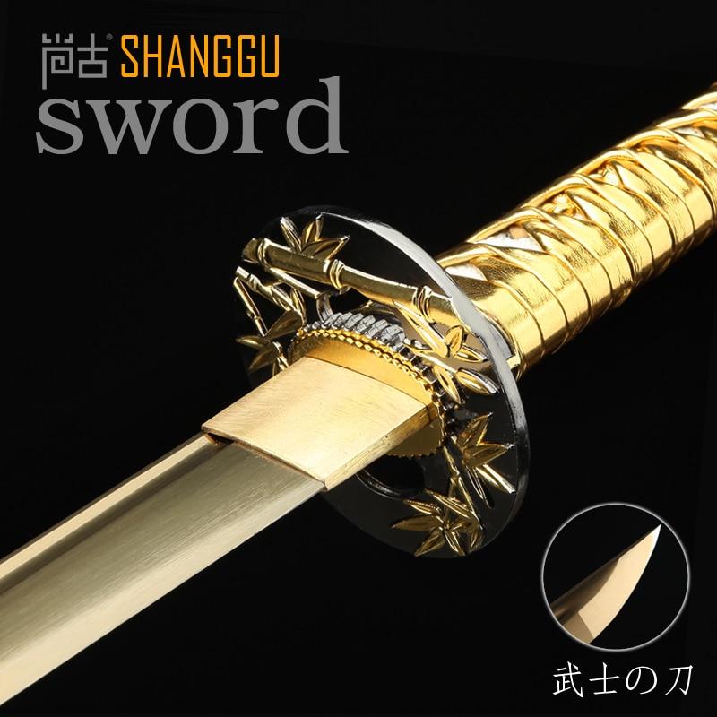 Silver Scabbard Golden Bamboo Decoration Japan Samurai