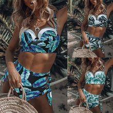 Womens Sexy Two Piece Bikini Set Push Up Underwire Boho Tropical Leaves Printed Swimsuit Criss Cross  Bandage Bathing Suit halter tropical print criss cross bikini set