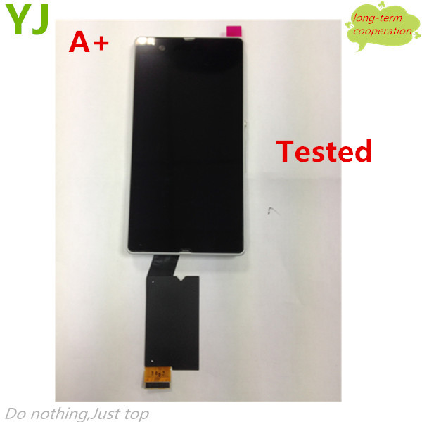 HK free for Sony Xperia Z LT36 L36 L36h C6602 C6603 Lcd display Touch Screen Digitizer With front Frame Assembly Black/White