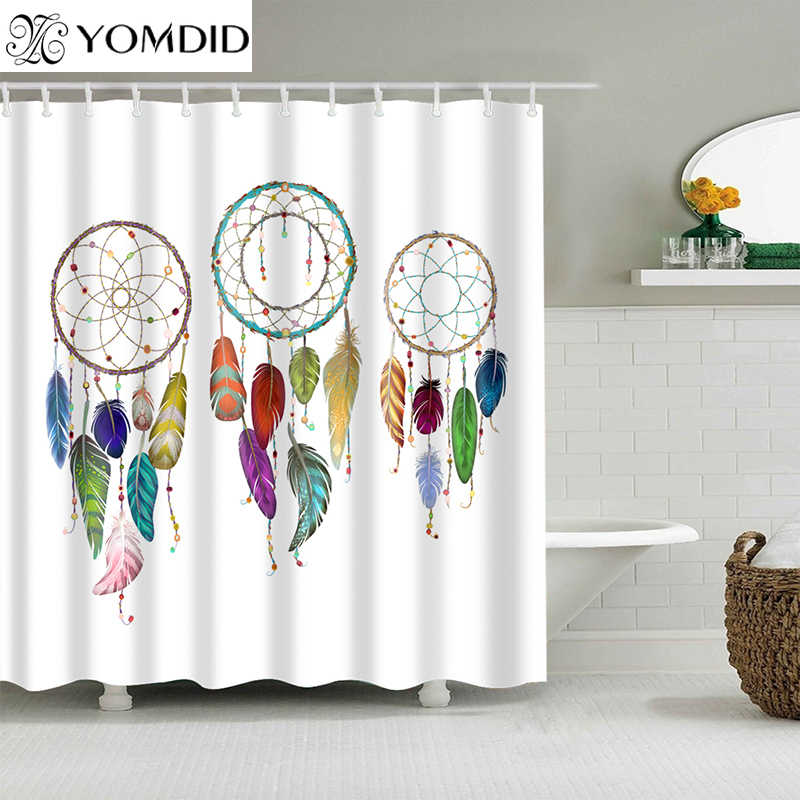 High Quality Dreamcatcher Bathroom Shower Curtain Polyester Bathroom Curtain Multi-size Dream Catcher Printing Shower Curtain