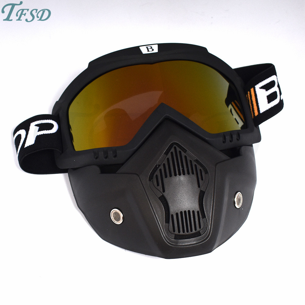 Universal Motorcycle Face Mask Goggles Vintage Detachable Goggle Open Face Motorbike Motor Ski Bike Glasses For Open Half Helmet in Motorcycle Glasses from Automobiles Motorcycles