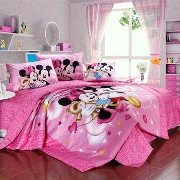 Mickey minnie mouse ensemble de literie en coton Égyptien linge de lit pour enfants accueil textile lits complet reine roi taille couette couvre feuille
