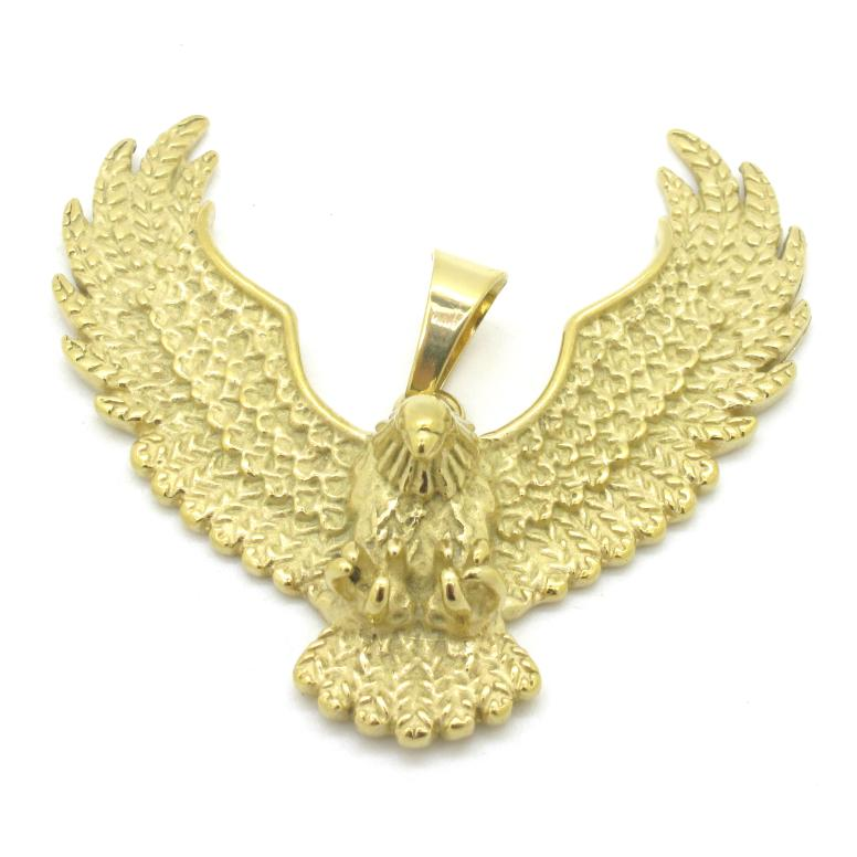 Gold plated eagle wing pendant fashion jewellery 316l stainless gold plated eagle wing pendant fashion jewellery 316l stainless steel rock biker hawk men boys pendants in pendants from jewelry accessories on mozeypictures Image collections