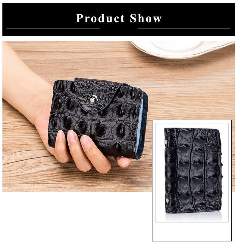 Lomelobo Split Leather Card Holders Men & Women Alligator Pattern Passport bag Credit ID Cards Holder 26 card slots Cards Wallet 2019 HCL400 Details (08)