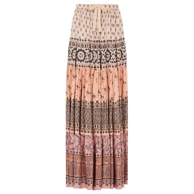 00717fef4d747 US $25.7 |Pink Long Skirt Floral Print Boho Skirt Women Summer Vintage chic  Hippie Skirts Loose Beach Wear Tassel Bohemia Elegant vestidos-in Skirts ...