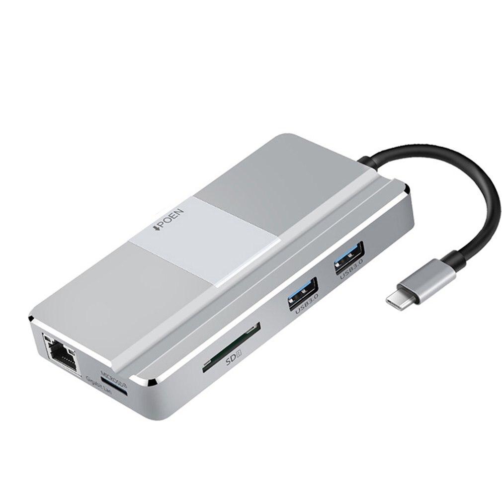 Yc217 nouvelle Station d'accueil de moyeu type-c extension de Type 7 ports Hdmi basse température pour accessoires Macbook Usb