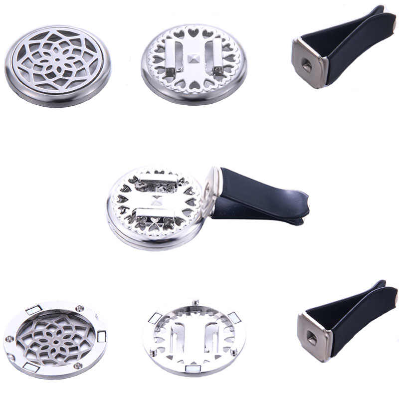 18 Styles Car Air Diffuser Stainless Steel Vent Freshener Car Essential Oil Diffuser Perfume Aromatherapy Necklace Open Locket
