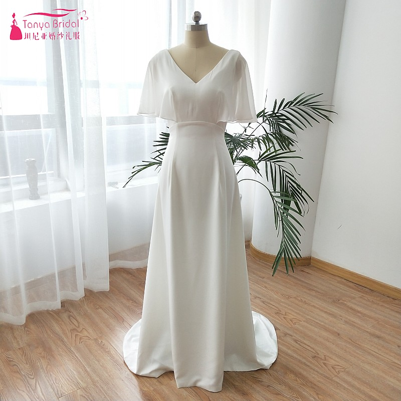 Soft Satin Elegant Wedding Dresses 2019 High Quality