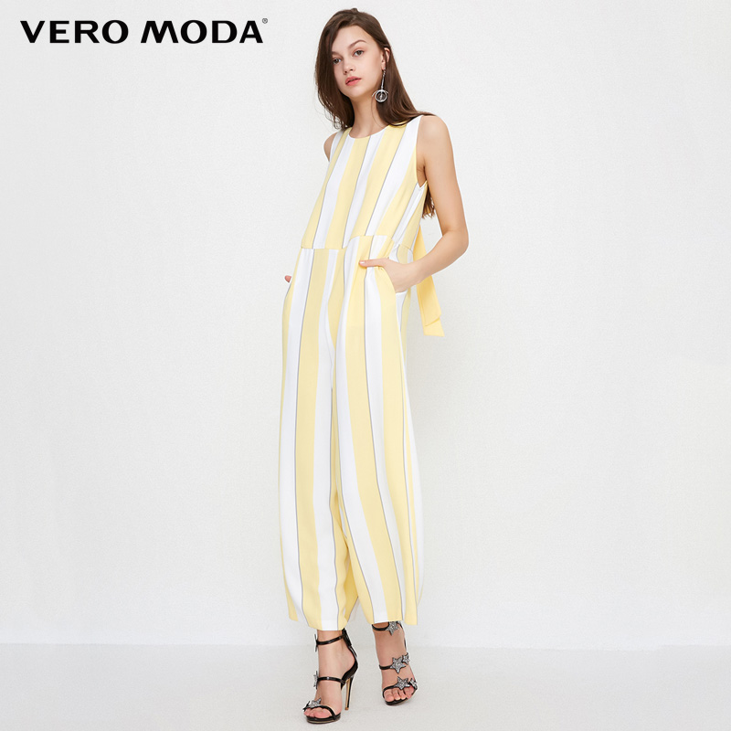Vero Moda 2019 Spring Summer New Women Jumpsuit V Neck Highly Draped Wide leg Striped Crop Jumpsuits 318244516 in Pants amp Capris from Women 39 s Clothing
