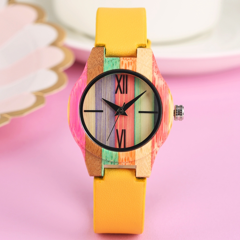 Candy Yellow Colorful Wood Watch Top Luxury Women Dress Unique Bamboo Watch Quartz Wristwatches For Girls Female Simple Clock