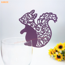 2017 New Squirrels Figure Laser Cut Wine Glass Card Escort Cup Name Place Birthday Party