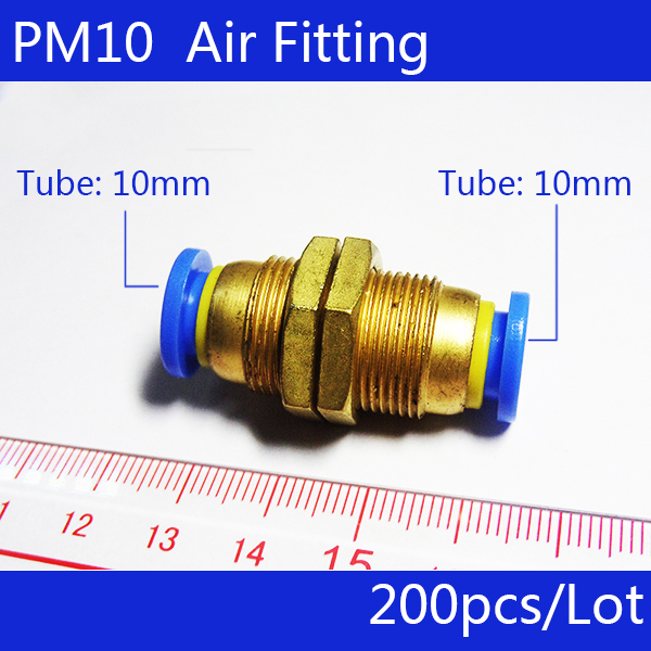 Free shipping 200Pcs 10mm Pneumatic Air Valve Push In Joint Quick Fittings Adapter PM10 5 pcs air pneumatic connection adapter 10mm push in quick fittings
