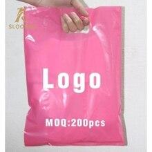 200 pcs custom shopping handle plastic bag/gift plastic packaging bag for garment/printed LOGO promotion bag