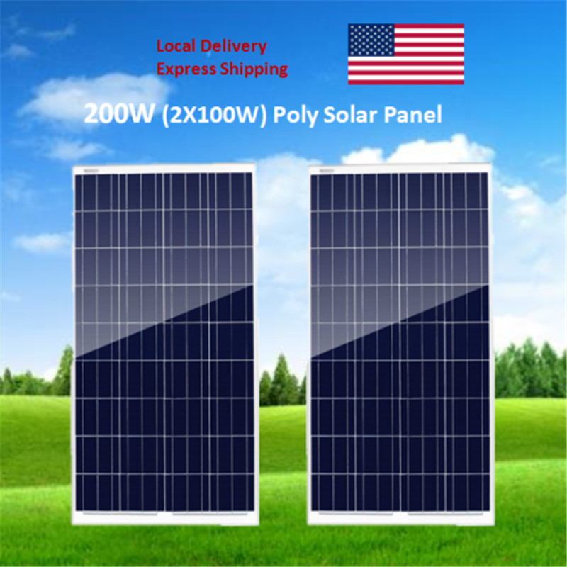 Poly  Solar Panel Kit 200W  2 x 100W Solar Panel Advanced RV Solar charger for 12V battery Off Grid Solar System for home