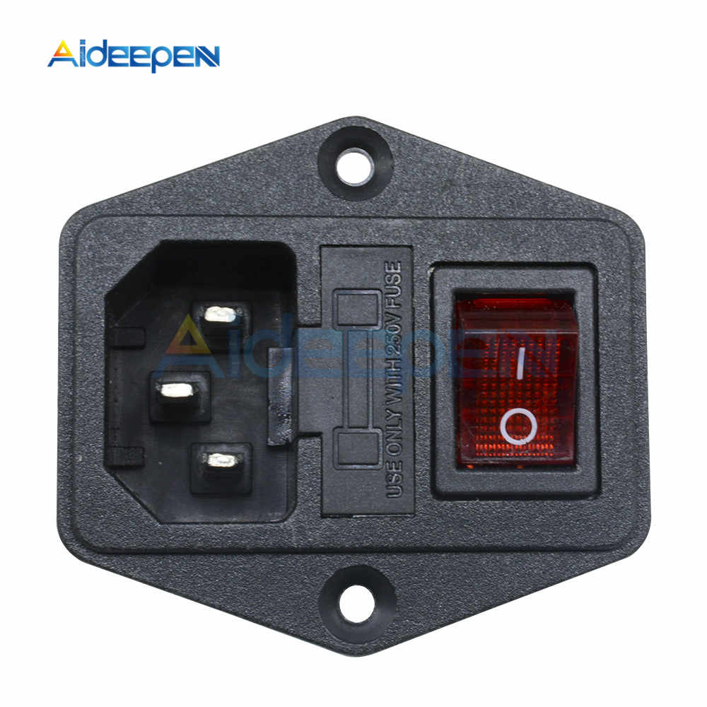 AC 250V 10A Hitam Merah 3-Pin Terminal Power Socket Switch dengan Fuse Holder