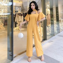 2019 Casual Strapless Butterfly Sleeve Jumpsuits Elegant Women Ruffles Sleeves Wide Leg Rompers Solid Flounce Tube Jumpsuit flounce sleeve solid top