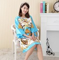 Roupão de Banho feminina Sleepwear Moda Camisola Impresso Vestido Nuisette Pijama Mujer Faux Seda Sono Encabeça Mulheres Nightdress Zh598F