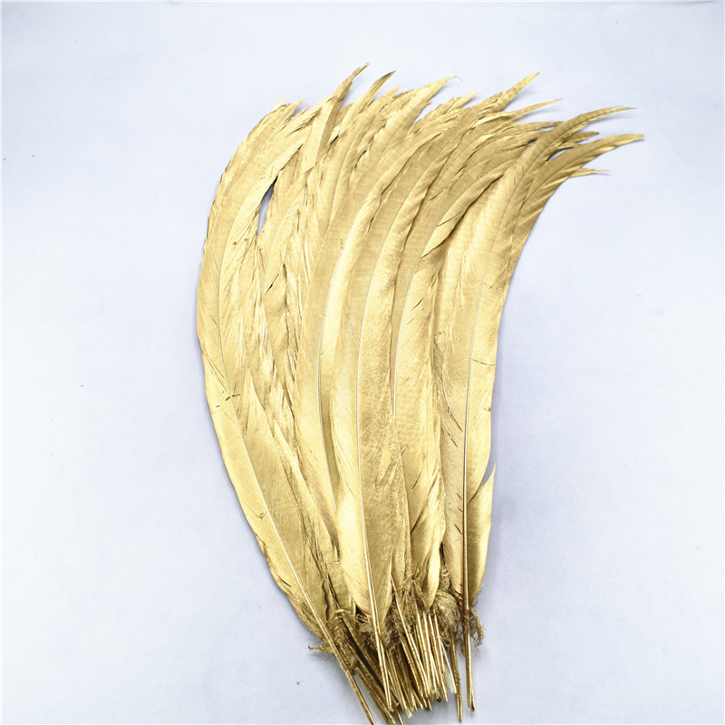 wholesale50pcs 100pcs 40 80CM 16 32Inch Natural Dipped Gold Silver Pheasant Tail Feathers DIY Christmas party