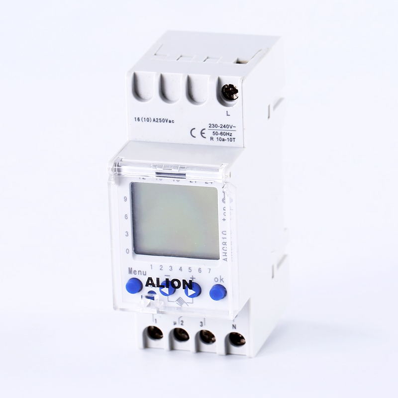 220V-240V AC Programmable digital time switch Time relay din rail 7 days weekly 1 channel AHC810 multilingual 0 01 999 second 8 terminals digital timer programmable time relay