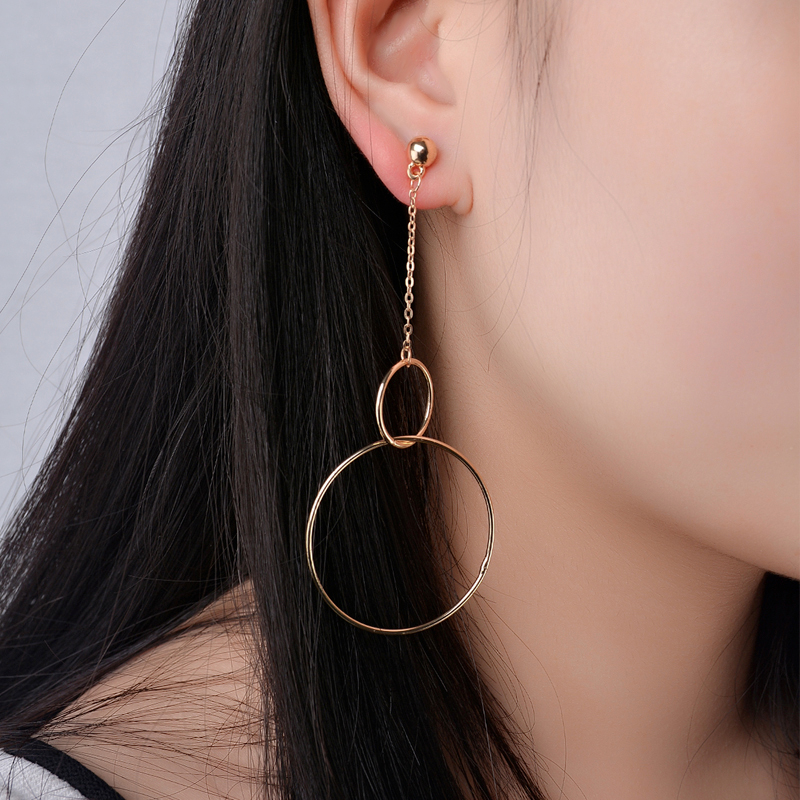 Trendy Double Copper Round with Alloy Link Chain Drop Earrings Dangle Earrings Vintage Ears Accessories for Women Jewelry