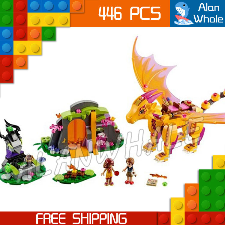 446pcs Fire Dragon's Lava Cave Model Building Blocks Bricks Gifts Kit Playset Girls Toys Compatible With Lego Elves 10551 elves ragana s magic shadow castle building blocks bricks toys for children toys compatible with lego gift kid set girls