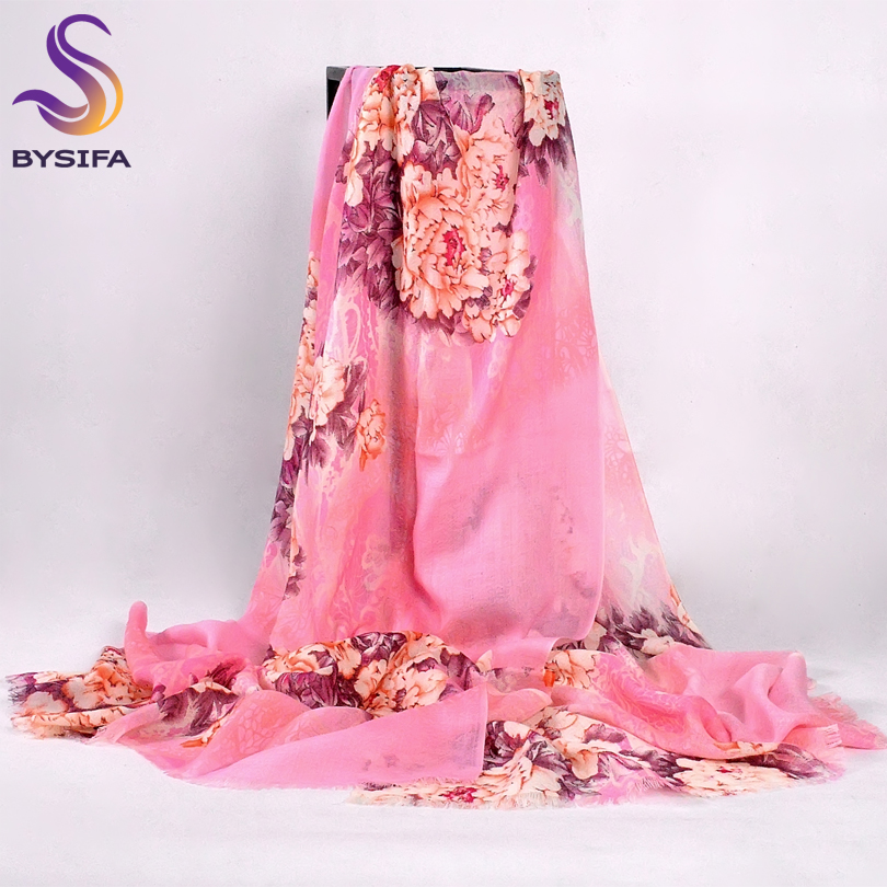 [BYSIFA] Chinese Peony Blue Pink Wool Scarves Pashimina Women Fashion Accessories Brand Warm Cashmere Winter Long Scarf Shawl