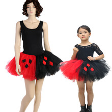 Black Red Solid Nylon Tulle Tutu Skirt Joker Pattern Mother and Daughter Clothes Fluffy Girls Women Party Pettiskirt