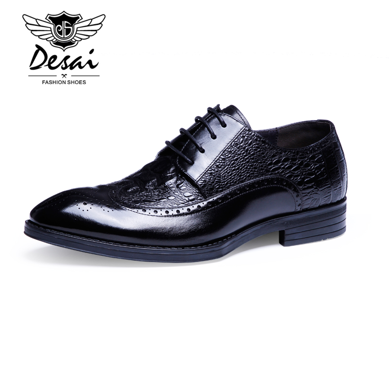 Desai Brand Italian Designer 2016 Crocodile Style Men Dress Shoes Genuine Leather High Quality Men Oxford Business Flats Shoes desai brand italian style full grain leather crocodile design men loafers comfortable slip on moccasin driving shoes size 38 43
