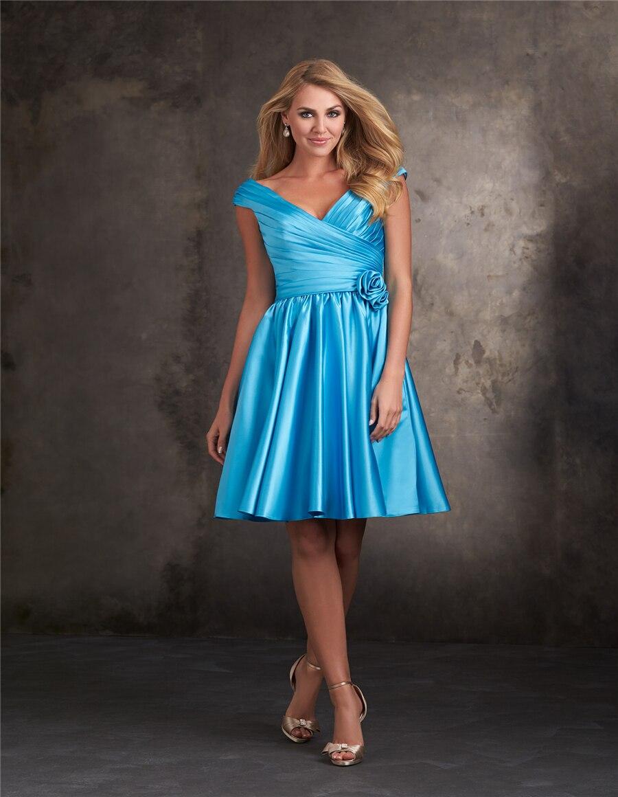 Blue modest short bridesmaid dresses 2015 cheap v neck satin ball ...