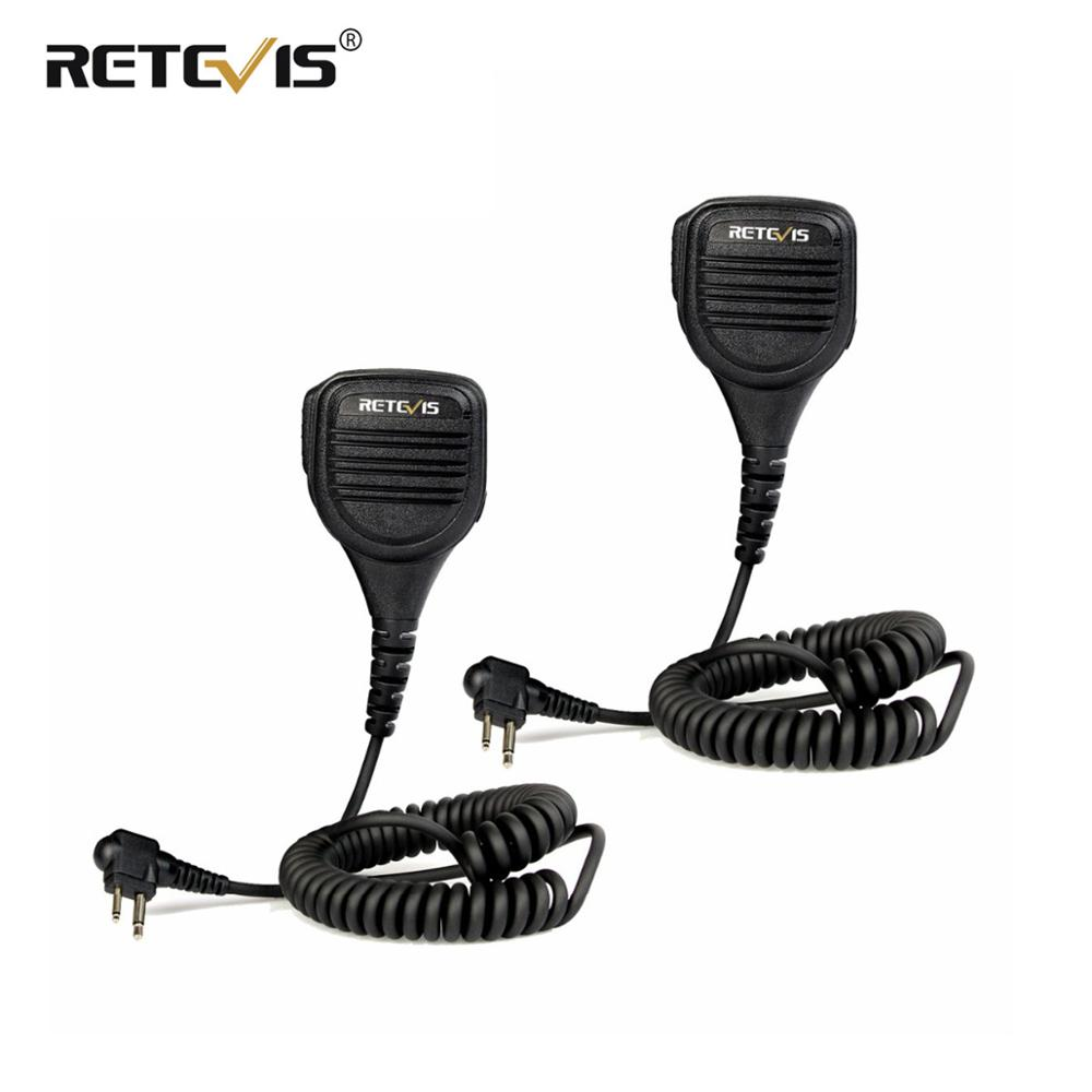 2pcs Black Retevis 2Pin M Plug Speaker Microphone Side PTT For Motorola GP68/GP88/GP300/GP2000/CT150 Radio Accessories C9051A