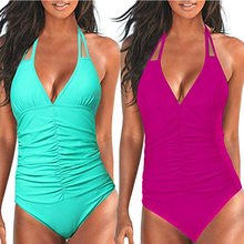 купить 2019 Deep v One Piece Swimwear Backless Tummy Control Monokini Swimsuit women Halter Push up Bathing Suit Plus Size swimwear по цене 691.04 рублей