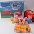 24 unids/set con Original Caja de Cerdo Nueva Peppaed Aventura Estilo COCHE De Plástico Casa de La Familia de Picnic Nuevo PVC Modelo Figura Niños juguetes
